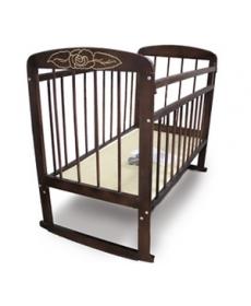 Кроватка детская МИШУТКА-8 (колесо- качалка) темная