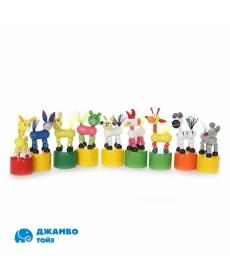 """Игрушка деревянная - Животные """"Папа Карло"""" (12 шт. в наборе) животные в ассорт. в/п 10,5 см"""