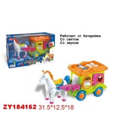 Лошадь с каретой, ходит, свет. звук. эффект, ZY184162/ZYB-00179