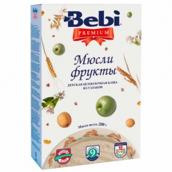 Bebi Каша безмолочная каша Premium «Мюсли - фрукты» 200г