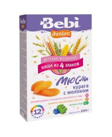 Bebi Каша молочная каша из 4 злаков «Мюсли курага с молоком» 200г