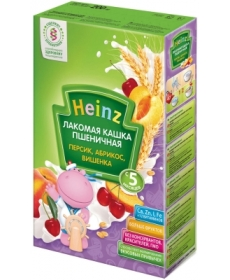Heinz Каша молочная Лакомая пшеничная Абрикос/Персик/Вишенка 200г