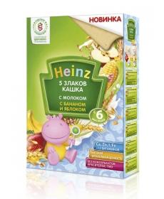 Heinz Кашка молочная 5 злаков с бананом и яблоком