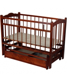 Кроватка детская МИШУТКА-11 маятник Тёмная
