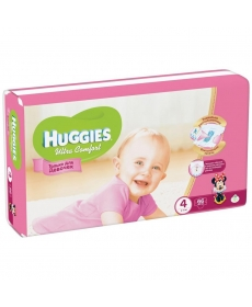 Huggies Ultra Comfort Подгузники для девочек (4) 8-14 кг - 66 шт