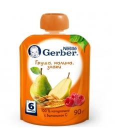 Gerber пюре Груша, малина, злаки 90г