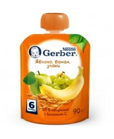 Gerber пюре Яблоко, банан, злаки 90г