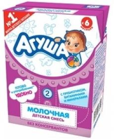 """Смесь стерилизованная молочная детская с пребиотиками """"Агуша-2"""""""
