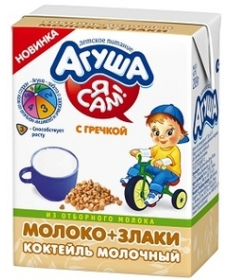 Агуша Я САМ! Коктейль 209г Молочный злаки/Гречка/молоко