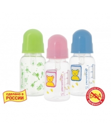 Мир Детства - Бутылочка с крышкой и силиконовой соской, 125 мл
