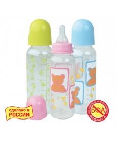Мир Детства - Бутылочка с крышкой и силиконовой соской, 250 мл