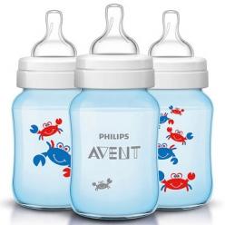 Avent бутылочка для кормления голубая Крабы 260 мл, 1 шт.