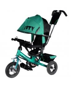 """Трехколесный велосипед """"CITY"""" зеленый JW7G, надувные колеса (10 и 8)"""