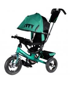"""Трехколесный велосипед """"CITY"""" Big зеленый JW7GB, надувные колеса (12 и 10)"""