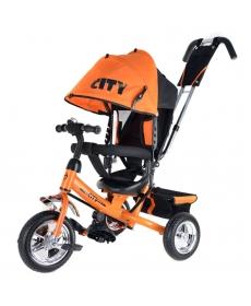 """Детский трёхколесный велосипед """"CITY"""" оранжевый JW7OS с ручкой"""