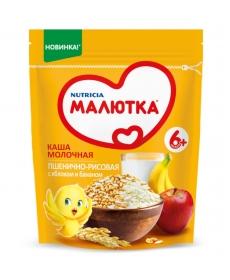 Малютка молочная каша пшенично-рисовая с яблоком и бананом 220г.