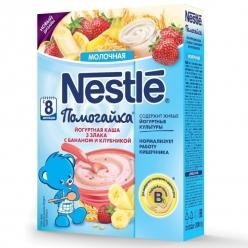Nestle Каша Йогуртная молочная каша 3 злака с бананом и клубникой
