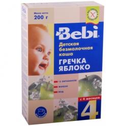 Bebi Каша безмолочная гречневая каша с яблоком 200г