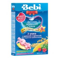 Bebi Молочная Каша ночная Premium - 3 злака с малиной и мелиссой 200г