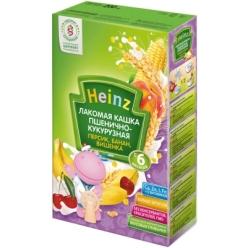 Heinz Каша молочная Лакомая пшенично-кукурузная персик/банан/вишенка 200г