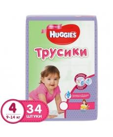 Huggies Подгузники-трусики для девочек (4) 9-14 кг - 34 шт.