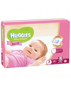 Huggies Ultra Comfort Подгузники для девочек (3) 5-9 кг - 80шт