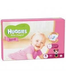 Huggies Ultra Comfort Подгузники для девочек (4) 8-14 кг - 80 шт