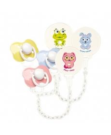 Мир Детства - Пустышка латексная ортодонтическая с прищепкой, 1шт, 0+