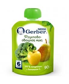 Gerber пюре Фруктово-овощной микс 90г