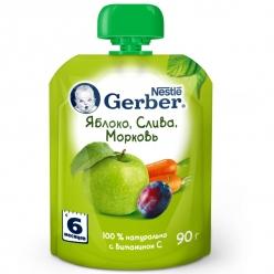 Gerber пюре Яблоко, Слива, Морковь 90г
