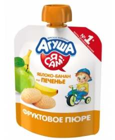 Агуша Пюре Я САМ! Яблоко/Банан/Печенье 90г