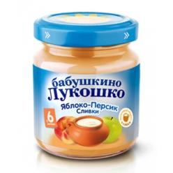 Бабушкино Лукошко пюре 100г Неж Яблоко/Персик/Сливки