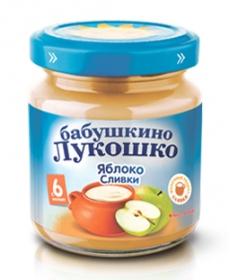 Бабушкино Лукошко пюре Яблоко/Сливки (Сахар) 100г