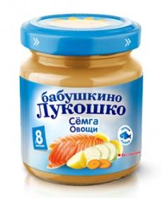 Бабушкино Лукошко пюре 100г Рагу семга/овощи