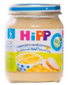 HIPP Пюре 125г Сладкая кукуруза/Картофель/Индейка
