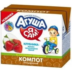Агуша Я САМ! Компот Яблоко/Клубника/Рябина 200г