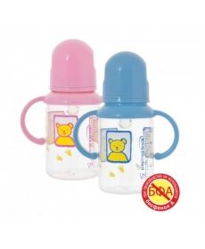Мир Детства - Бутылочка с ручками с силиконовой соской, 125 мл